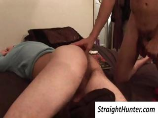 Delighted dude abuses his tired straight roommates cock and licks his ass without waking him