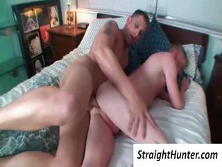 Two delighted boys in bed with a deep ass penetration by his hard blarney
