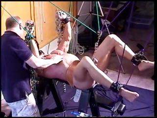 Muscular supplicant gets chained-up plus his balls plus cock are restrained as well