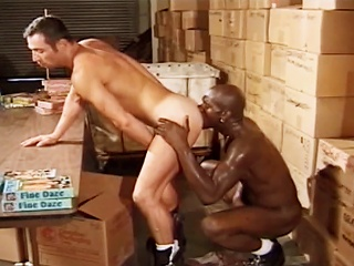 Guy sucks cock before fucking his hot friend respecting chum around with annoy Warehouse at work...