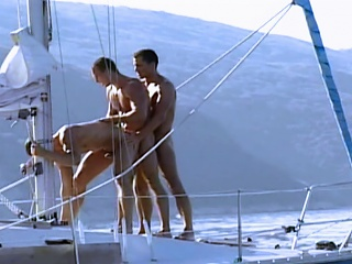 Muscle guys fuck on yacht before shooting their loads enveloping over each...
