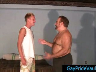 Gay bear calling his friend for some cock and fuck