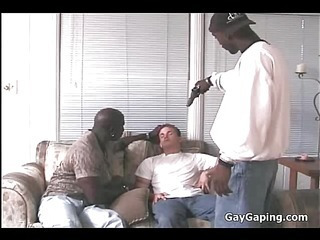 Unlucky white gay suck and fuck two big black cocks