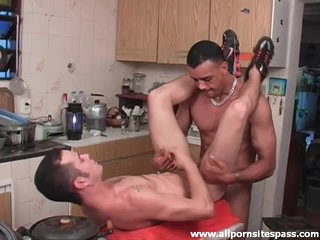 Big cock fills his ass in kitchen