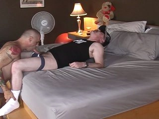 Horny fat pig daddy served by hot muscled gay hunk