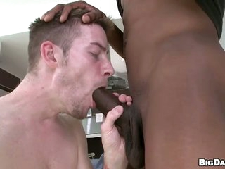 Skinny dude deepthroats pretentiously black dick