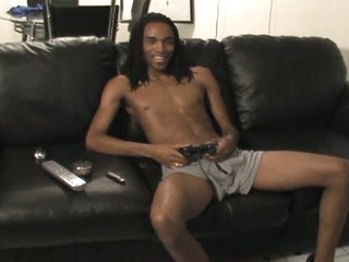 Hot black gay with massive boner only jerking diversion on couch