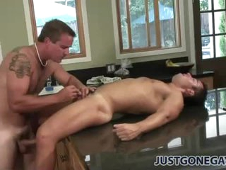 Sweaty anal wean away from behind in the kitchenette