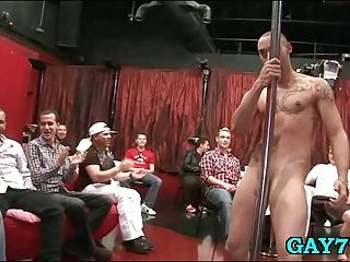 Masker stripper shows his cock