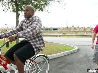 Black guy on a bike is underived about give a blowjob about a vapid man. Will the vapid guy get rammed too, or only the baleful guy shall get load of shit in his ass? In what positions will they have sexual intercourse and where shall he receive his the vapid man's honour juice?