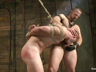 He shows his slave who's someone's skin big-shot added to after licking his tight, shaved anus this executor fucks his mouth added to then licks his face before fucking his anus hardcore. The tied gay is hanging added to has to obey as someone's skin dominant male goes deep in his rectum, fucking him merciless. Wanna see if he spine cum deep in his ass?