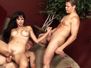 Lengthy haired chick fucking three gay dudes in hardcore three-some