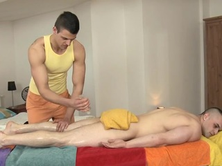 Hunk is pounding stud's anal during lusty massage